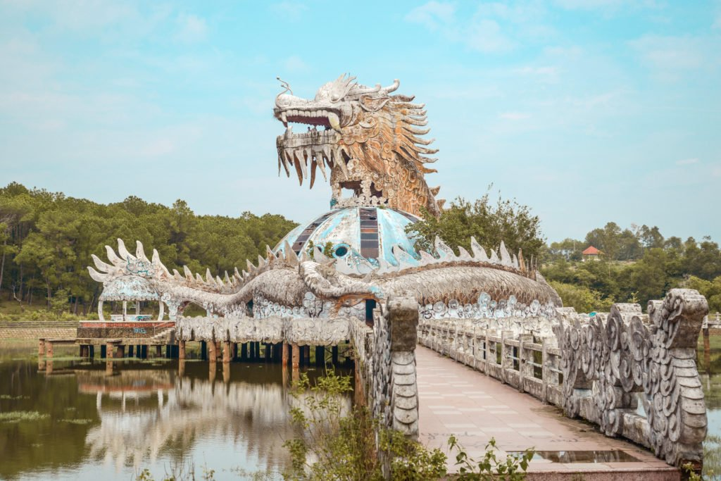 Abandoned waterpark building with dragon head