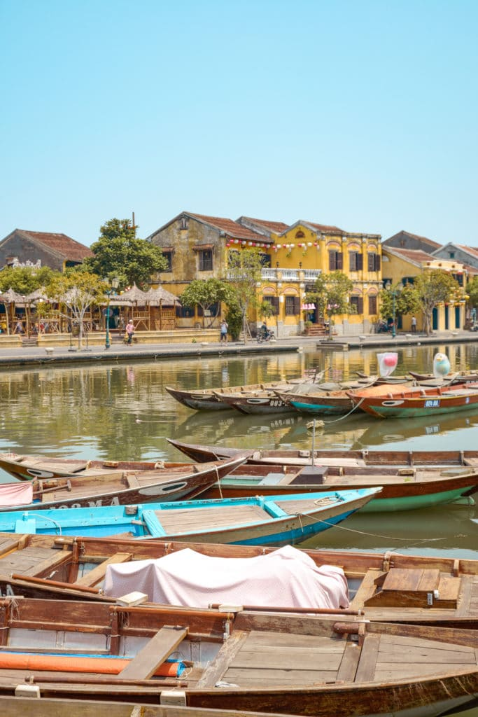 boats on a channel in Hoi An; showing the beautiful ancient city