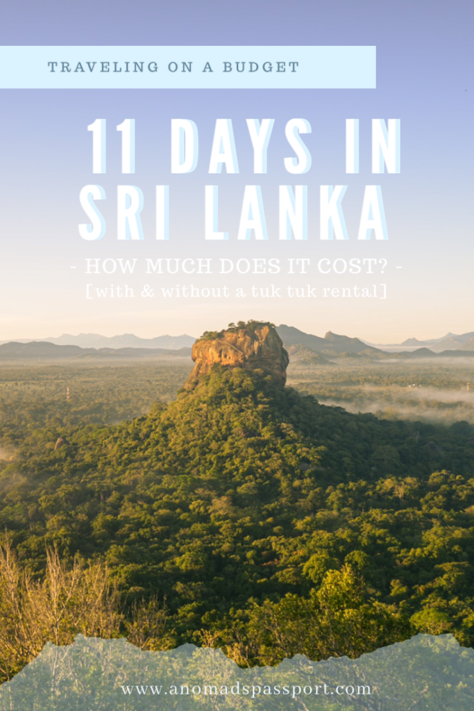 Daily Costs of Traveling in Sri Lanka
