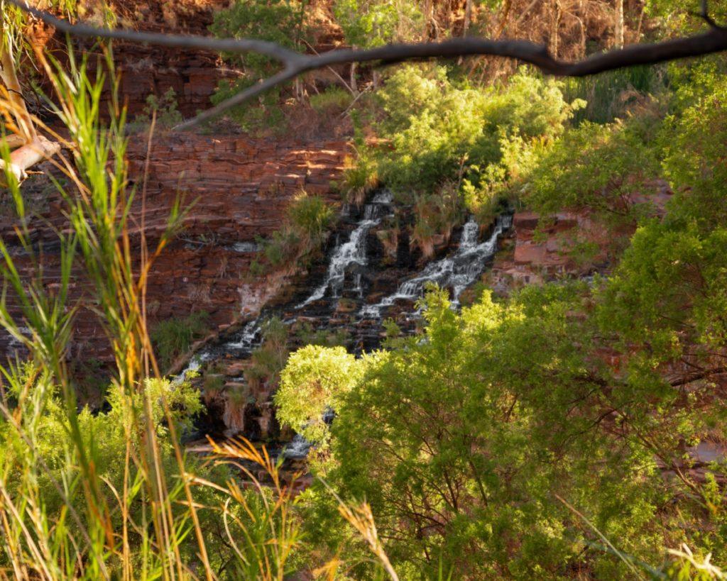 Fortescue Falls in Karijini National Park seen through trees.