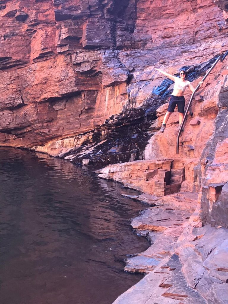 The famous handrail at Handrail Pool in Weano Gorge within Karijini National Park