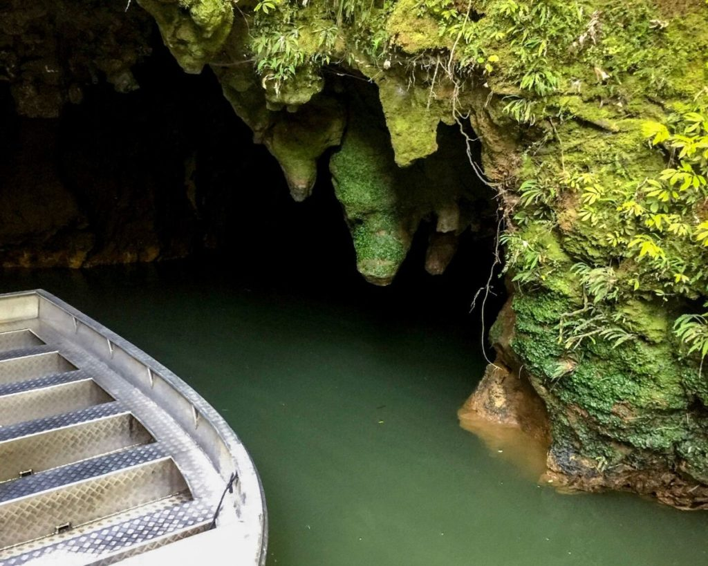 Boat at Waitomo Glow Worm Caves in New Zealand