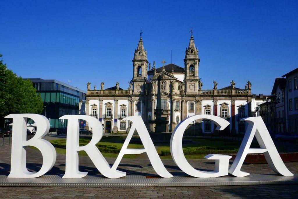 Braga sign in front of church in Portugal