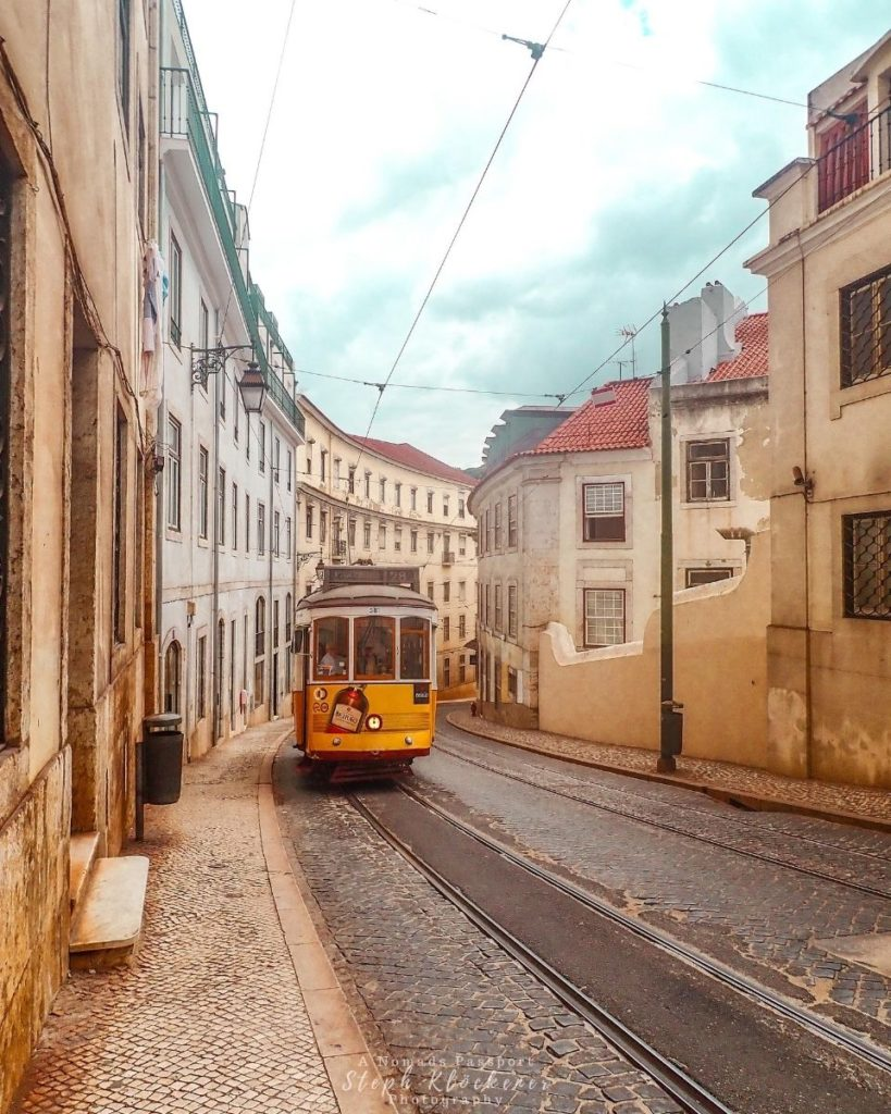 Yellow tram in Lisbon, one of the best weekend trips in Portugal