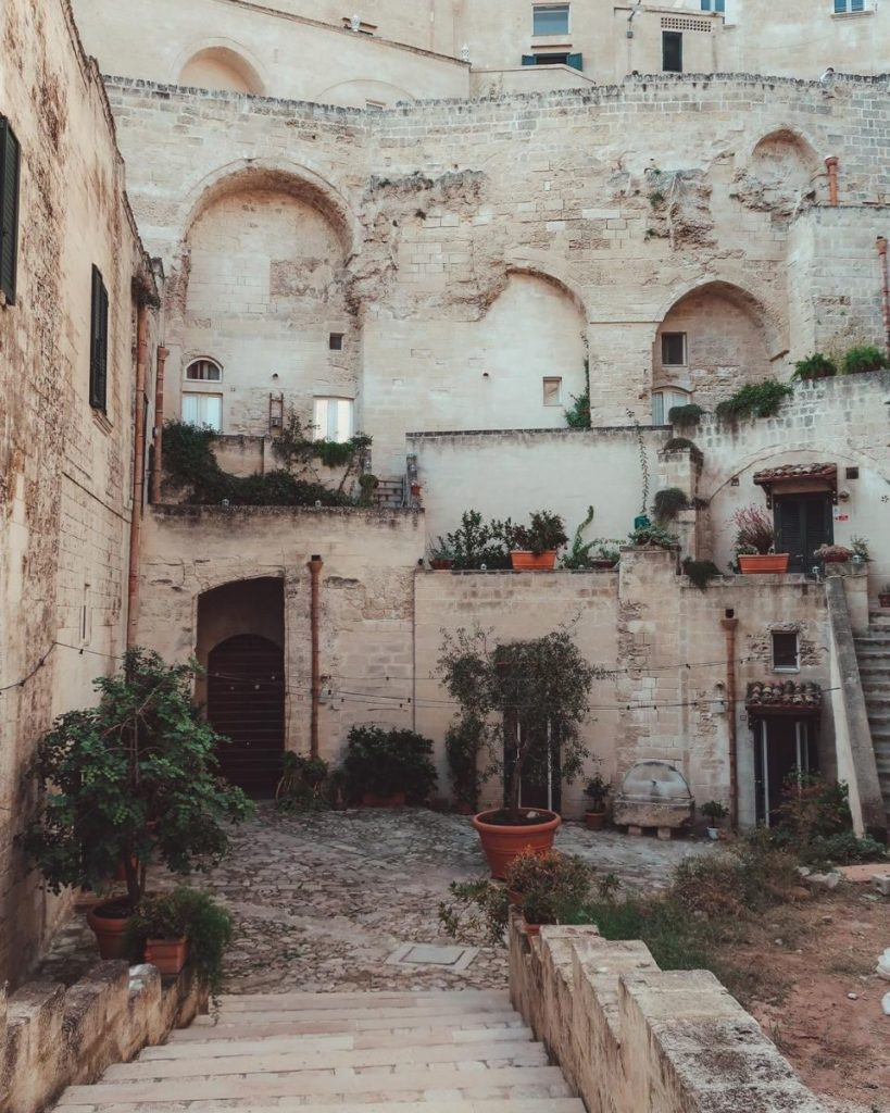 Street in Matera with plants