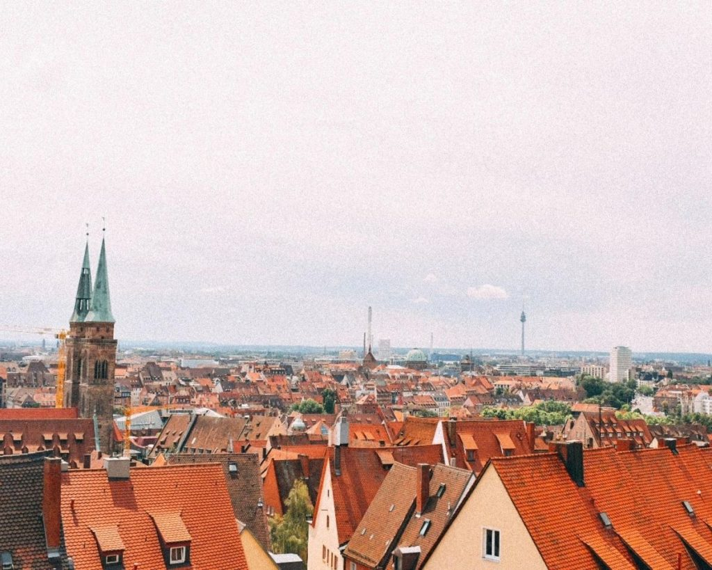 View over the houses of Nuremberg - a view you see during weekend getaways in Europe