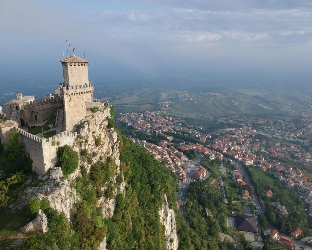 Castle at the peak of Monte Titano in San Marino and countryside