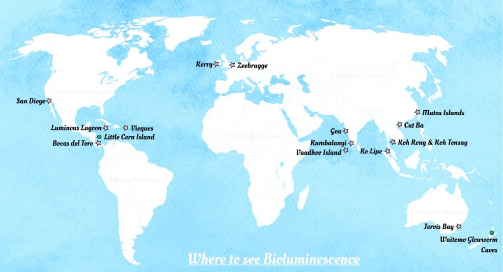 Map of the best locations to see bioluminescence and bioluminescent waves