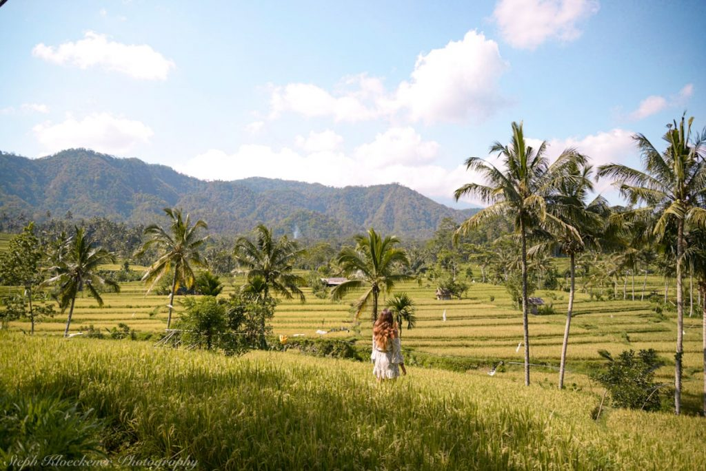 Woman in a white dress standing on rice terrace in Bali which is one of the best first-time solo female travel destinations