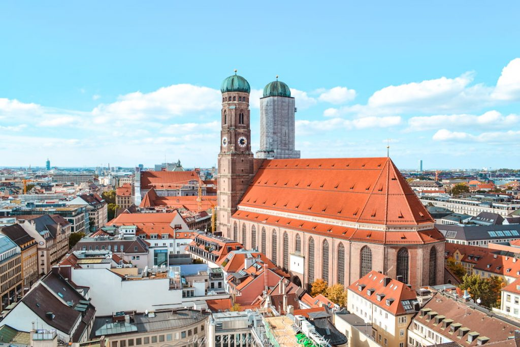 The Frauenkirche in Munich as seen from the New Town Hall viewpoint