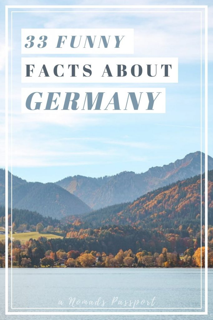 Mountains behind lake with overlay text '33 funny facts about Germany'