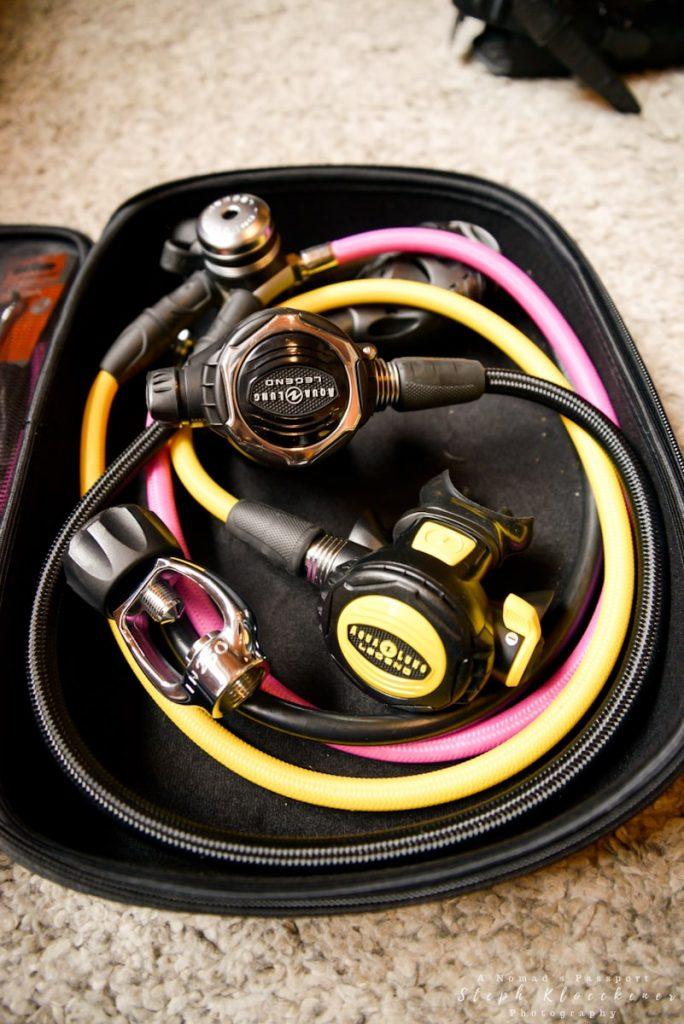 Regulator set liveaboard packing list including 1st stage, regulator, octopus and adapter