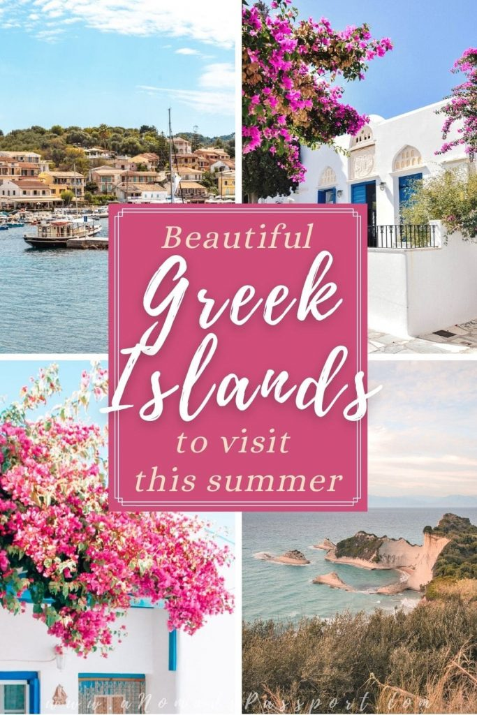 4 images of Greek Islands that show white houses with flowers, a cliff and a harbor.