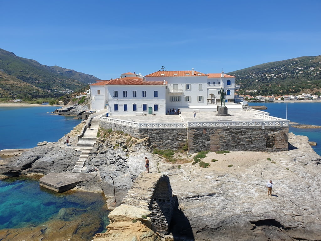 House on rock on Andros Island in Greece