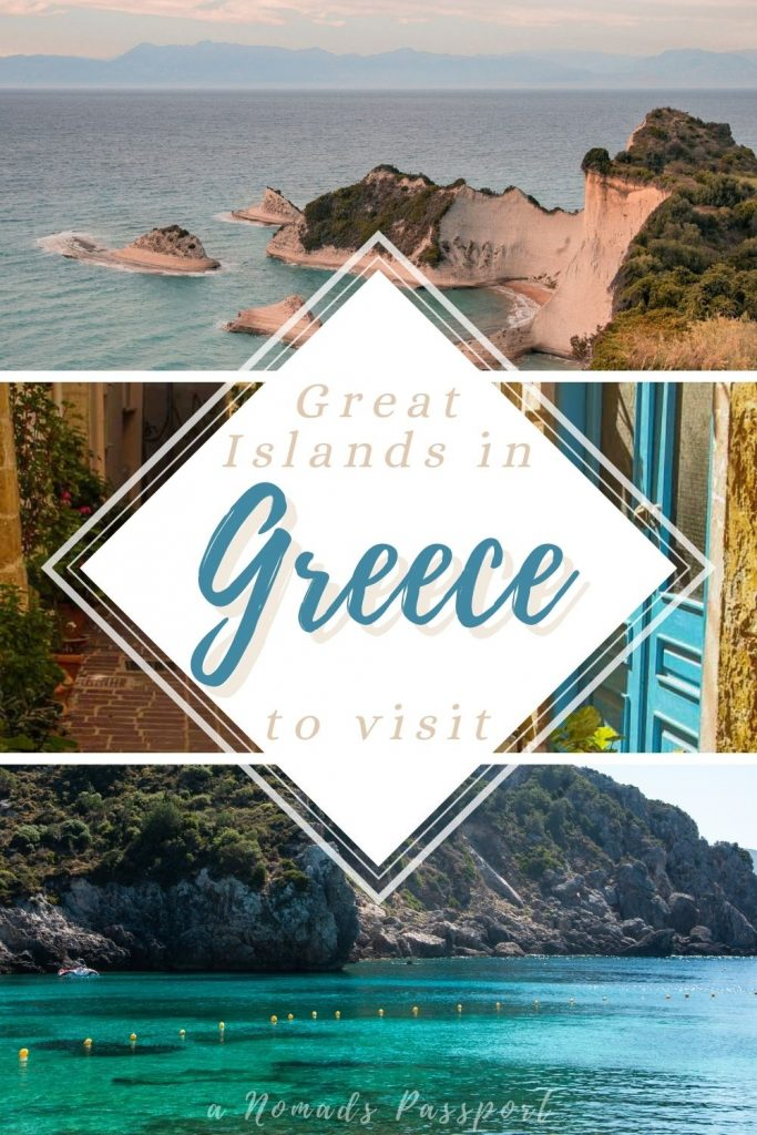images of islands with the text 'Great Islands in Greece to visit'