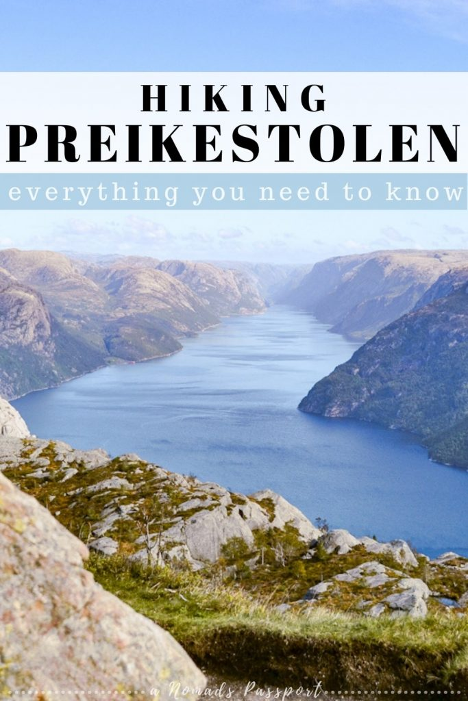 Lysefjorden with the captions 'hiking Preikestolen'