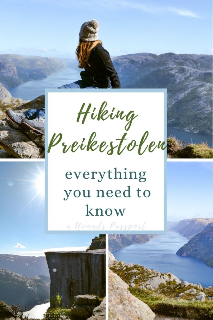 4 images of the Pulpit Rock hike trail with the text ''Hiking Preikestolen in Norway - Everything you need to know'