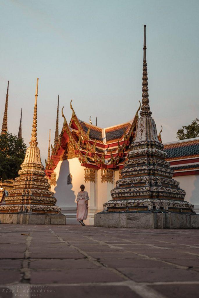 Wat Pho in Bangkok, Thailand at dusk