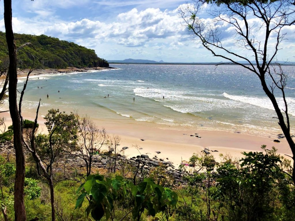 view over the ocean and beach in Noosa National Park, Australia