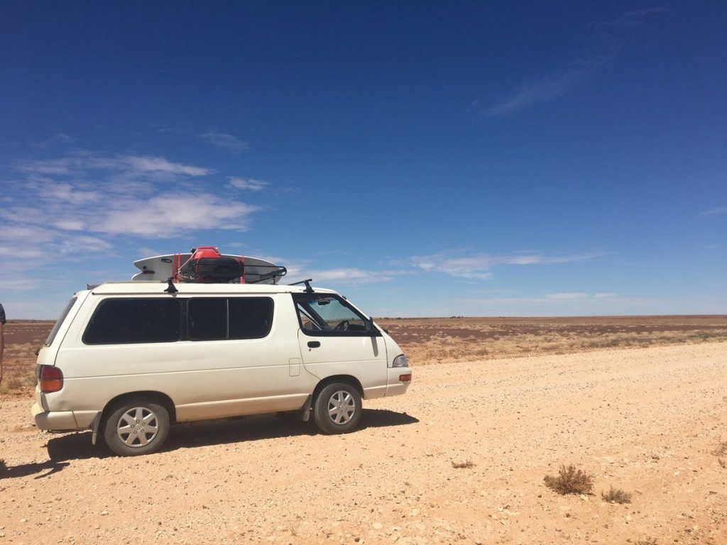 Camper in Munga-Thirri National Park, that was formerly know as Simpson Desert National Park in Australia