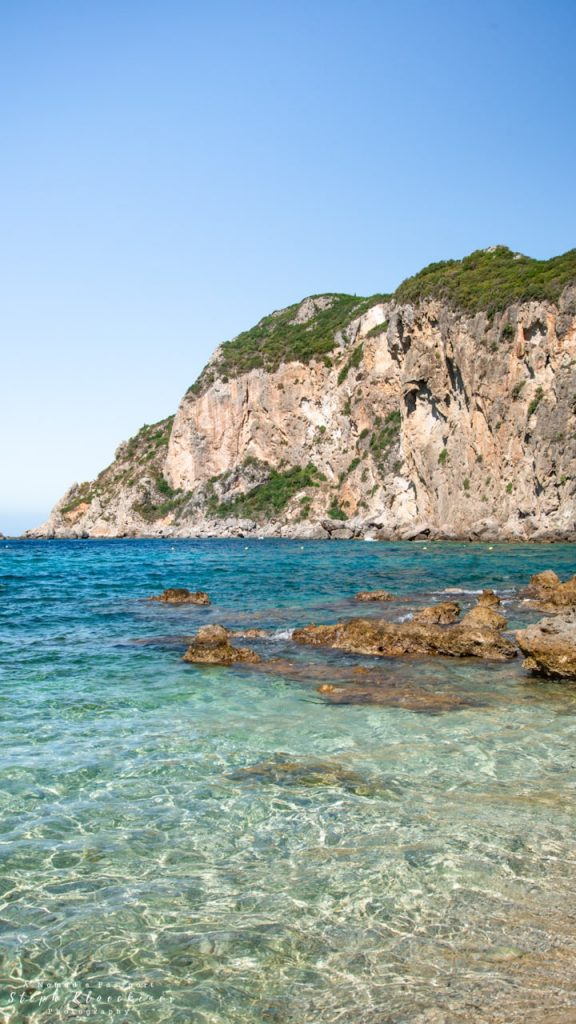 Crystal-clear waters at Beach in Corfu