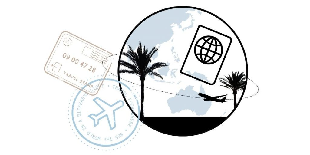 Logo and passport stamps